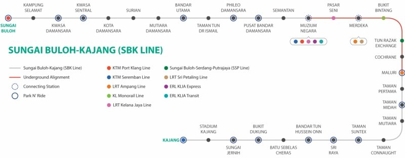 Kuala Lumpur Subway Map Overlay.A Guide To The Mrt Rail System In Klang Valley