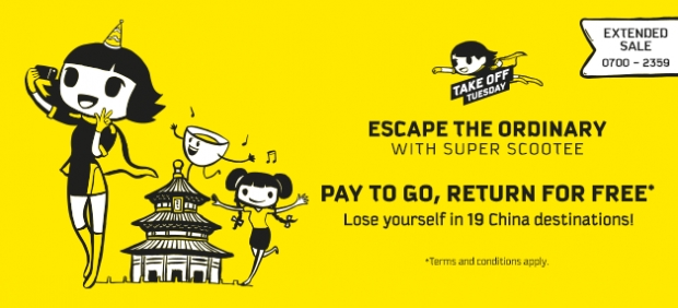 Pay to Go, Return for FREE with Scoot Escape Tuesday Sale
