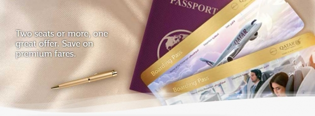 Two Seats or More, One Great Offer. Save on Premium Fares with Qatar Airways
