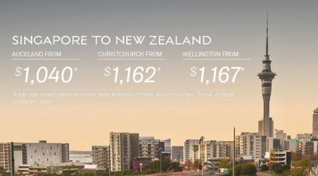 Fly to New Zealand with Fiji Airways from SGD1,040