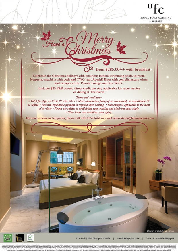 Christmas Getaway in Hotel Fort Canning from SGD285