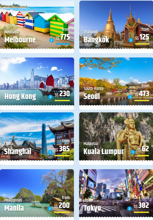 Last Minute Flight Deals with CheapTickets from SGD62 2