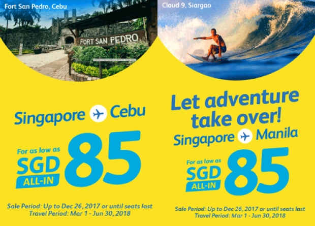 Fly to Philippines with Cebu Pacific from SGD85 1