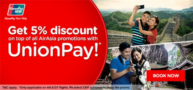 Get 5% Discount on Top of All AirAsia Promotions with UnionPay Card!