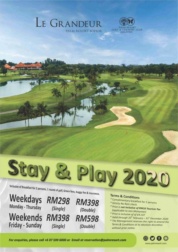 Stay and Play 2020 Offer at Le Grandeur Palm Resort Johor