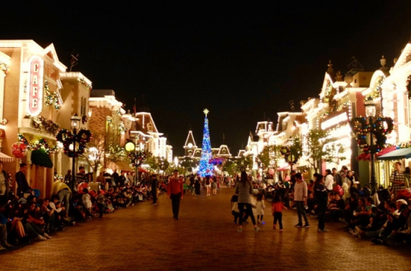 Hong Kong Disneyland at night