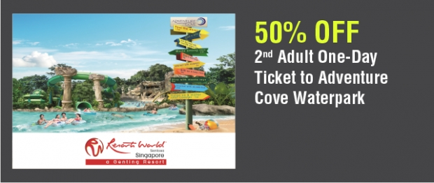 50% Off 2nd Adult Pass in Adventure Cove Waterpark with NTUC Card