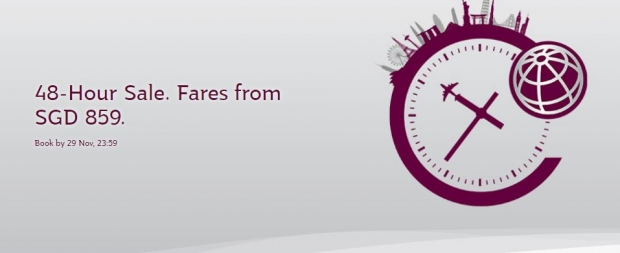 48-Hour Sale. Fares from SGD 859 to Europe with Qatar Airways