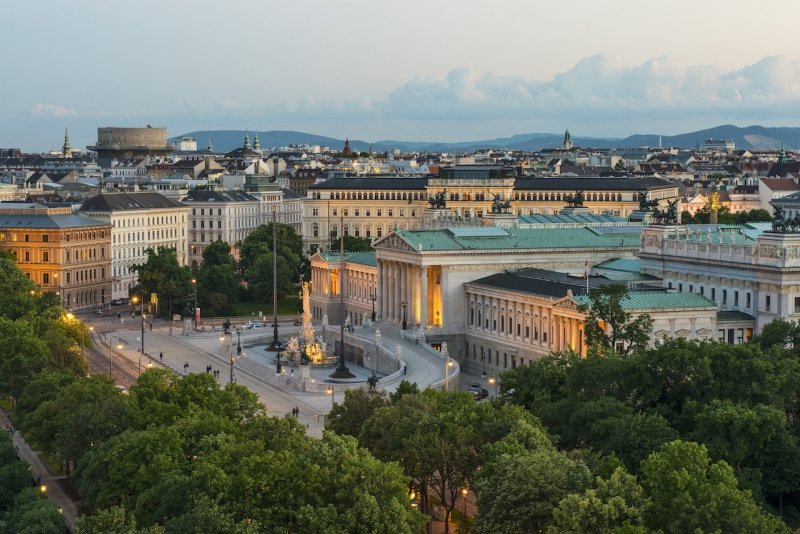 View of Ringstrasse with Parliament and Palais Epstein