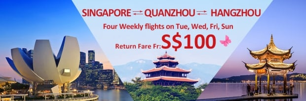 Fly to Hangzhou and Quanzhou from SGD 100 with China Eastern Airlines