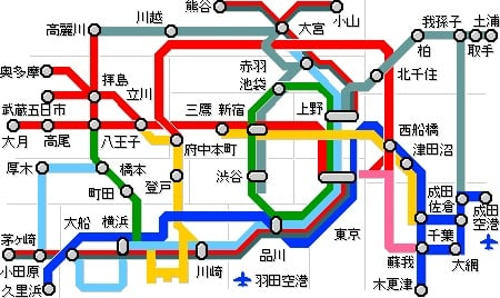Used Bugs To Map Tokyo Subway Map.Japan S Train Lines Simplified Tokyo Jr Metro Subway Guide