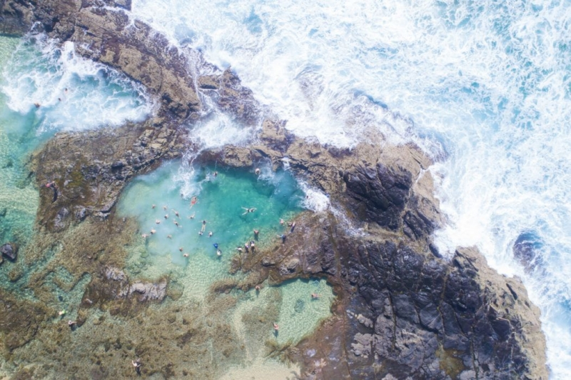 aerial shot of champagne pools