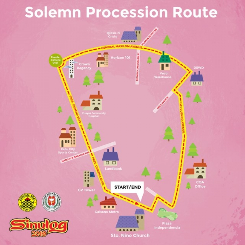 sinulog solemn procession route