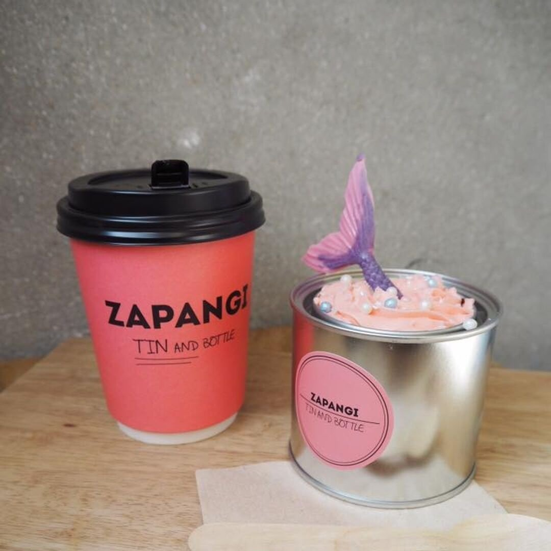 Zapangi coffee and mermaid tin cake