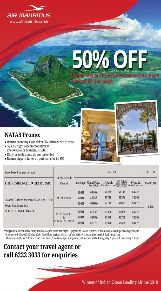 NATAS Promo in Air Mauritius with Up to 50% Savings