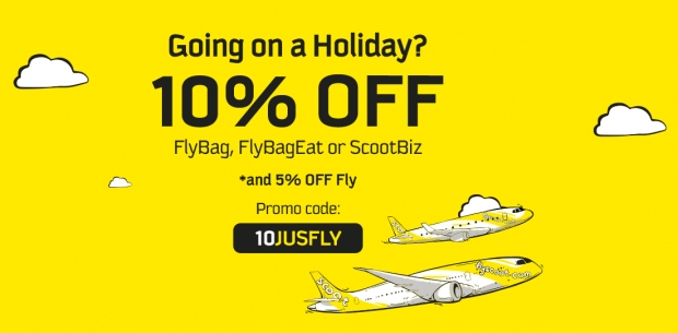 Enjoy 10% Off FlyBag, FlyBagEat or ScootBiz on Scoot Flights