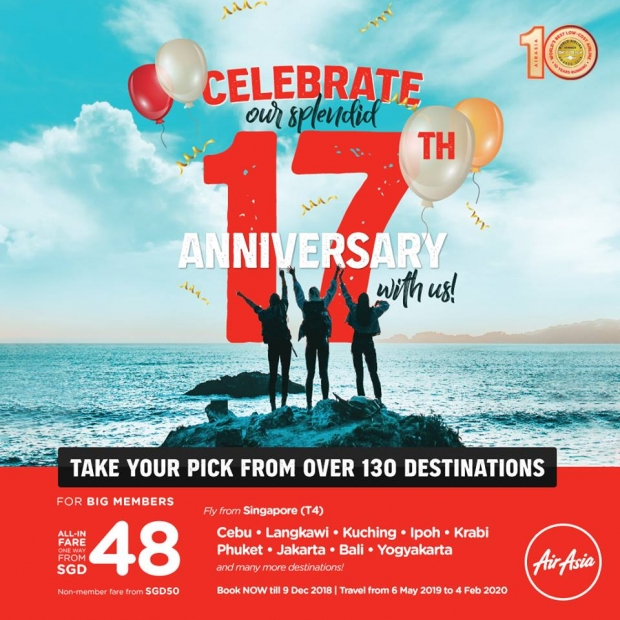Celebrate AirAsia's 17th Anniversary with Fares from SGD48