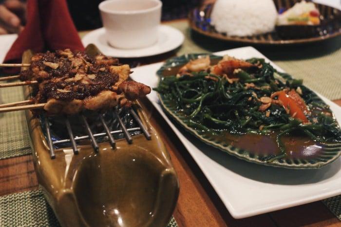 Sate Ayam and Cha Kangkung