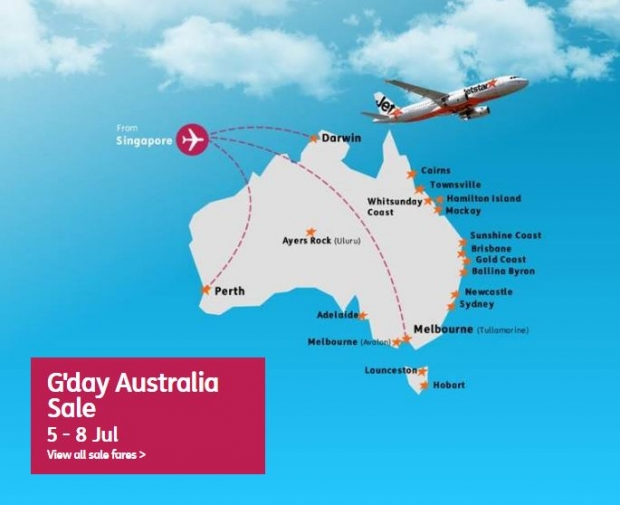 G'day Australia Sale until 08 July 2016 from SGD95 on Jetstar