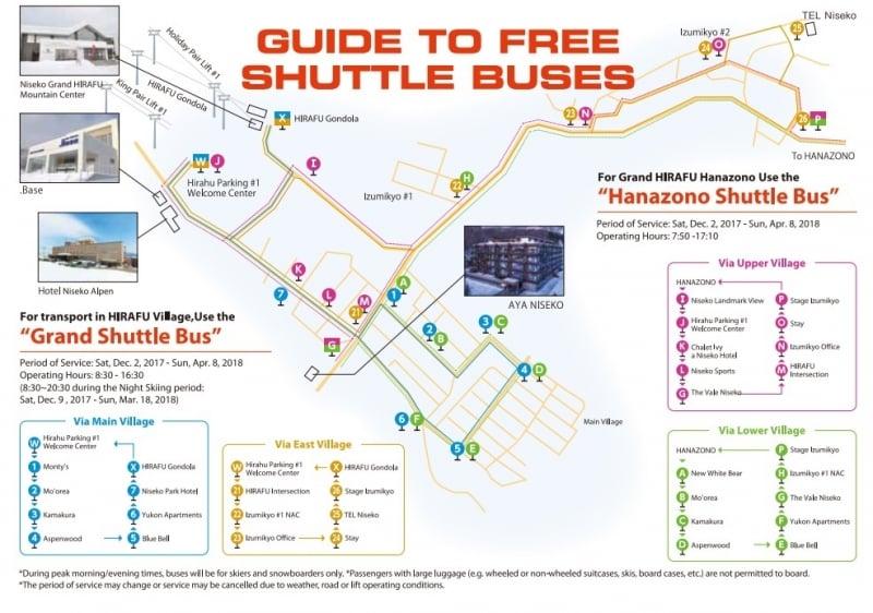 Grand Hirafu and Hanazono Free Shuttle Routes