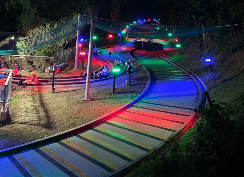 multi-coloured lights at night luge tracks