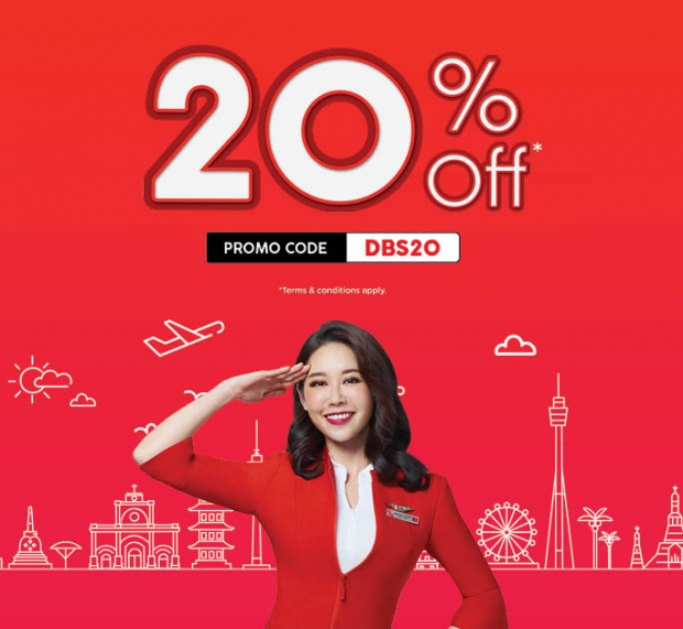Enjoy 20% off on Flights with AirAsia and DBS Card