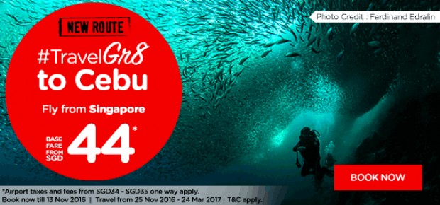 Travel Great to Cebu with AirAsia from SGD44*