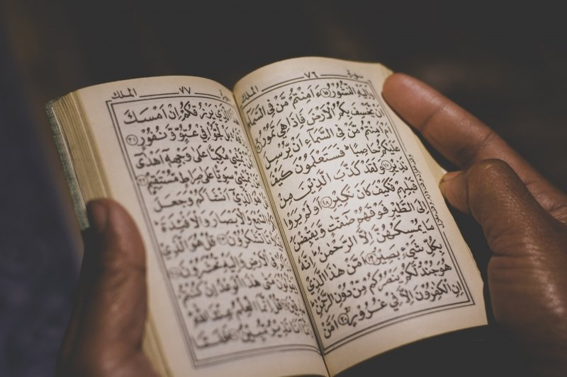person holding quran