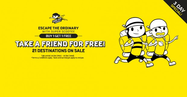 Scoot with a Friend for FREE to 21 Featured Destinations from SGD45