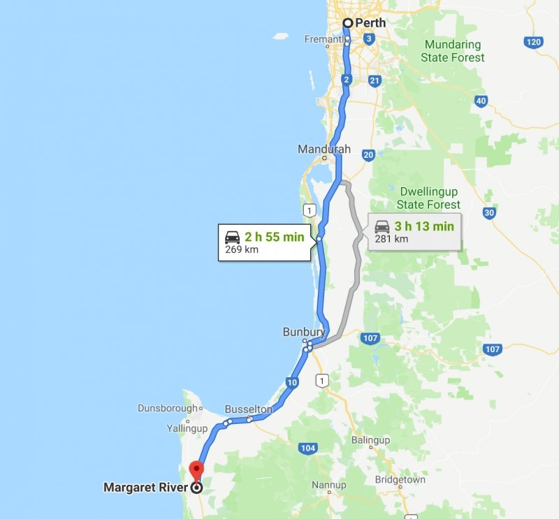map of road trip route from perth to margaret river