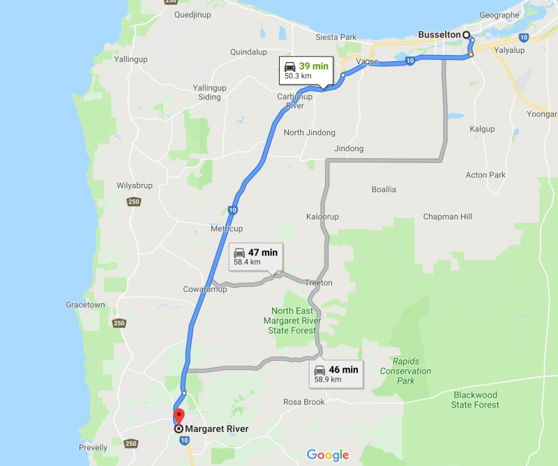 map of road trip route from busselton to margaret river