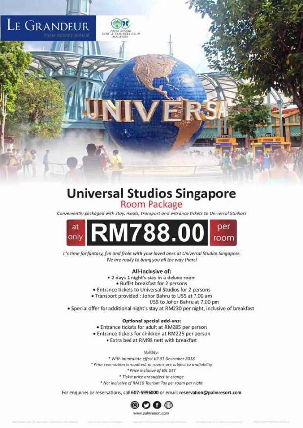 Universal Studio Singapore Room Package from RM788 with Le Grandeur Palm Resort Johor