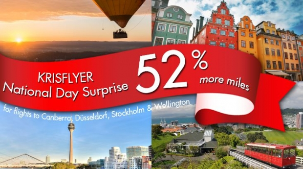 Krisflyer National Day Surprise with Singapore Airlines Flights to Australia and Europe!