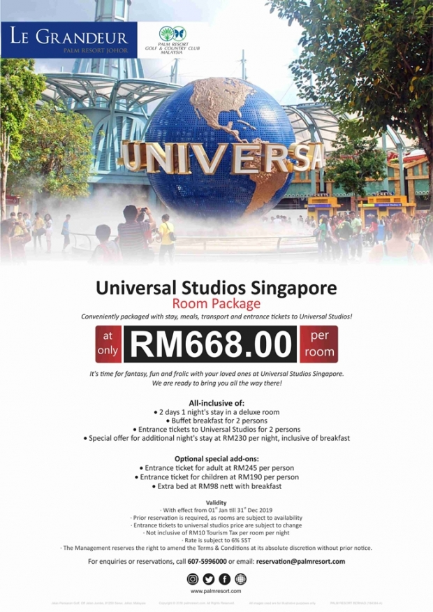 Universal Studio Singapore Package at Le Grandeur Palm Resort Johor