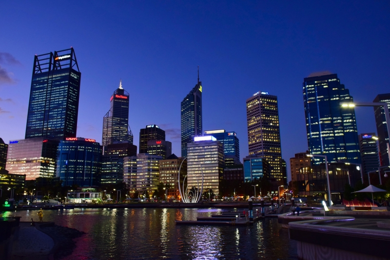 skyline of perth at night