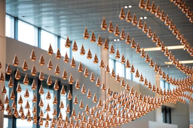 kinetic rain art installation