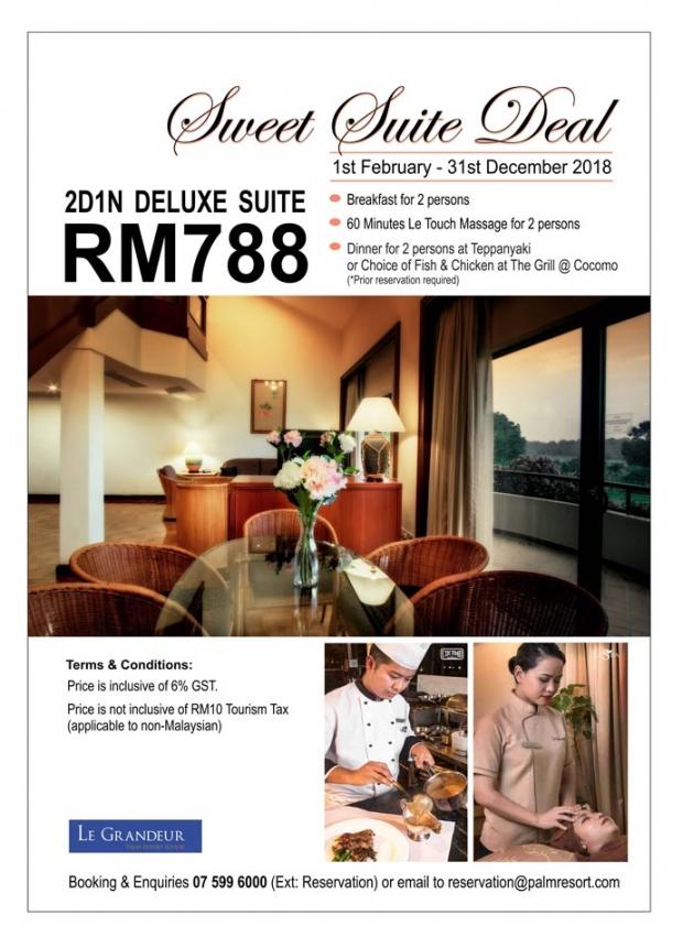 Sweet Suite Deal in Le Grandeur Palm Resort Johor from RM788