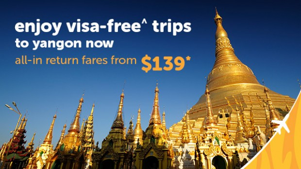Fly to Myanmar from SGD139* with Tigerair
