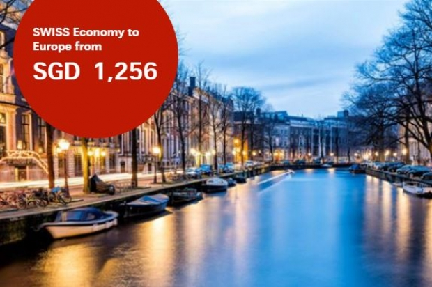 Fly to Europe with SWISS Airlines from SGD1,256