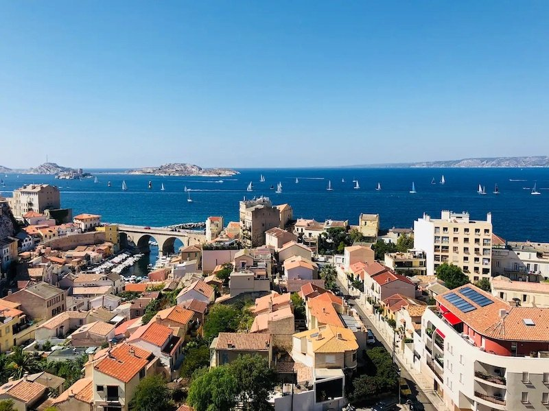 View of Marseille from apartment balcony