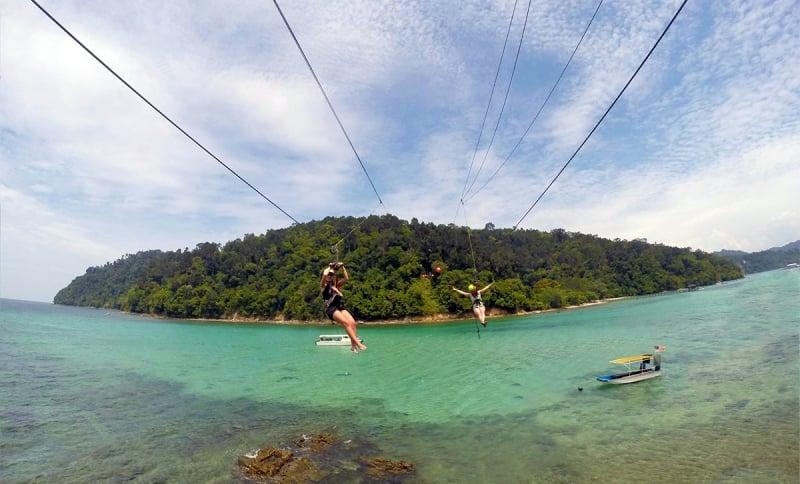 ziplining at sapi and gaya islands