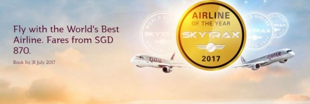 Fly with the World's Best Airline, Qatar Airways, from SGD 870