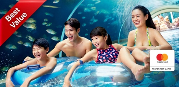 Mastercard® Exclusive: Adventure Cove Waterpark Adult One-Day Ticket + SGD5 Meal Voucher + SGD5 Retail Voucher at SGD38 (Save 20%)