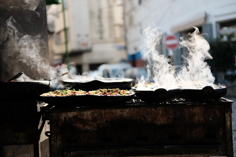 street food being cooked
