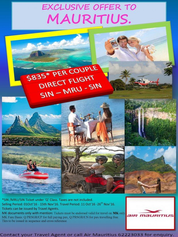Two-To-Go Exclusive Offer with Air Mauritius from SGD835