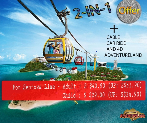 2-in-1 Offer with Cable Car Ride and Sentosa 4D AdventureLand Pass
