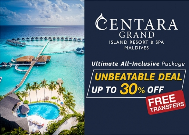Save up to 30% on your Ultimate Holiday with Centara Grand Island Resort & Spa Maldives