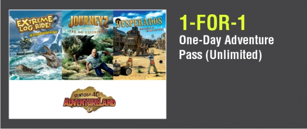 1-FOR-1 Admission in Sentosa 4D AdventureLand with NTUC Card