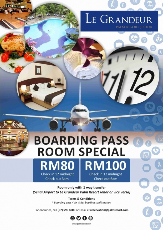 Boarding Pass Room Special from RM80 in Le Grandeur Palm Resort Johor