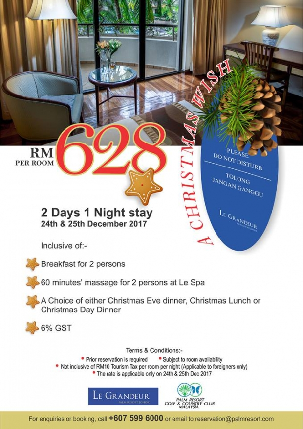 Christmas Celebration 2017 in Le Grandeur Palm Resort Johor from RM628